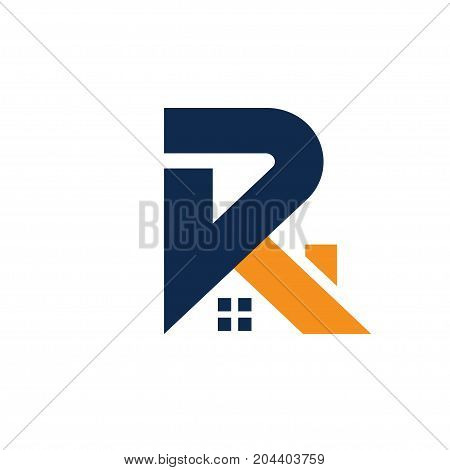 strong modern letter R with roofing style. real estate logo concept