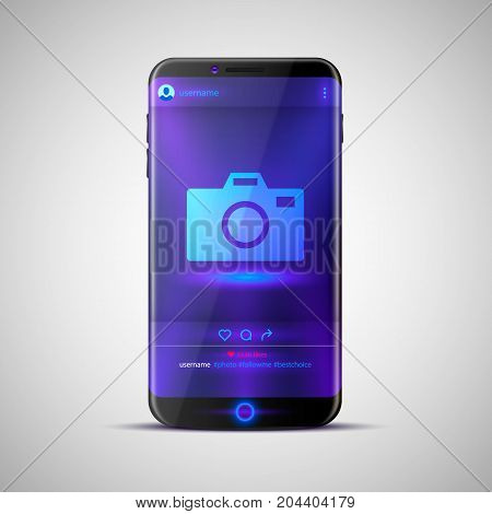 Mobile social network photo frame. Vector illustration