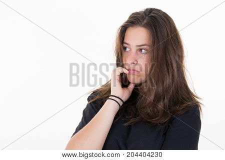 Frightened Girl. Female With Pinched Pursed Lips