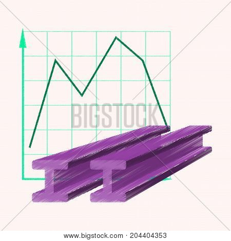 flat shading style icon Falling graph business