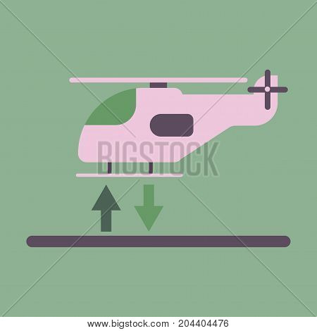 Icon in flat design helicopter lands business