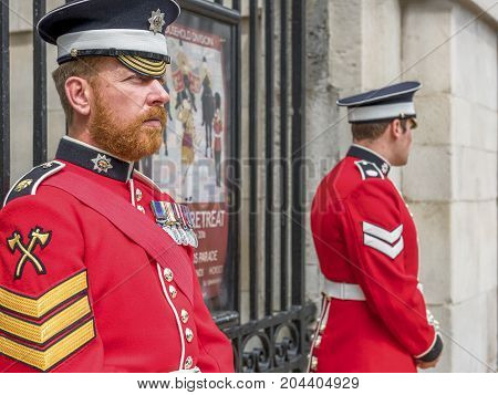 London - May 2017: Your Majesty royal guards at Whitehall