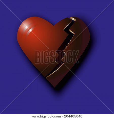 Red broken 3d heart on a purple background