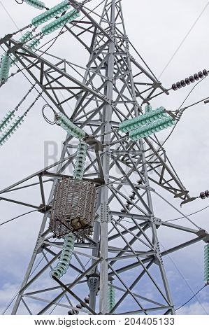 Electrical tower on a background of sky