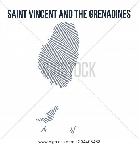 Vector Abstract Wave Map Of Saint Vincent And The Grenadinessaint Vincent And The Grenadines Isolate