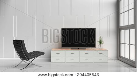 Smart tv on tv stand  in white living room decorated with wood white tv stand, a tree in glass vase, black arm chair, white cement wall, white floor and light window. 3d rendering.