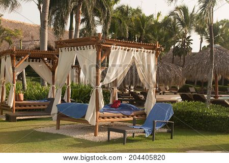 Pergola In A Luxury Outdoor Pool Spa