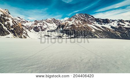 Winter Landscape Of Snow Mountain Background.