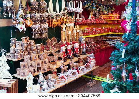 Christmas market stall with gifts and souvenirs for sale