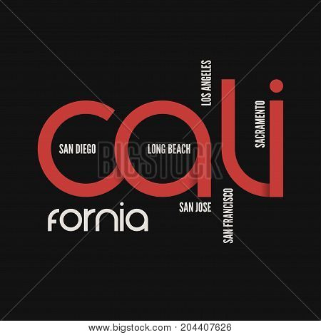 California state. T-shirt and apparel vector design, print, typography, poster emblem