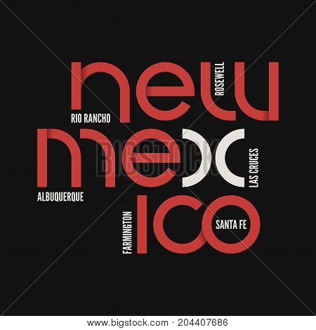 New Mexico state. T-shirt and apparel vector design, print, typography, poster, emblem