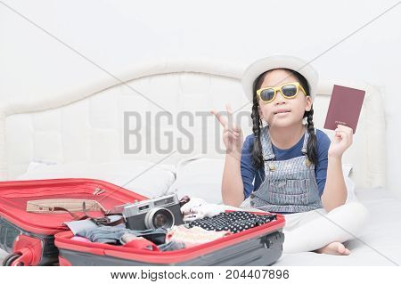 Cute Girl Show Passport With Travel Accessories Costumes.