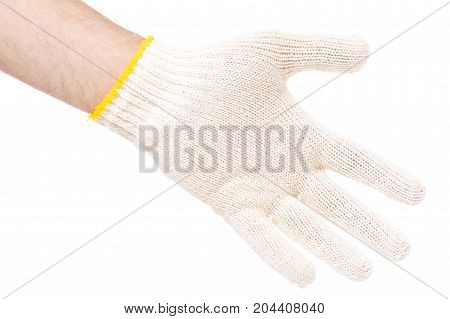 Hand of a man in a working glove on a white background isolation