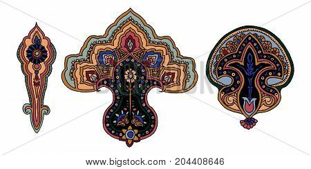 Set of 3 colorful vector paisley elements. Traditional motive of Russia, India, Persia isolated on white background. For your design.