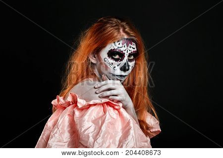 Body art painting. Professional photo darkness background horizontal. Dead God. White skin girl.