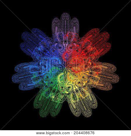 Circular lace paisley pattern. Traditional oriental mandala ornament with hamsa. Seven colors of chakra's on black background. Yoga symbol.