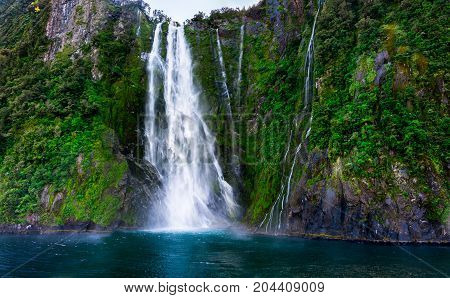 Stirling Falls At Milford Sound In New Zealand