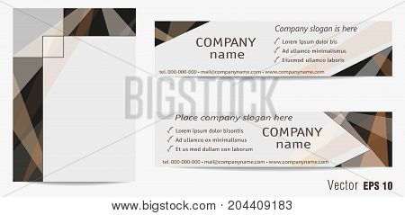 Cover and two banners template. Light gray and brown geometric backgrounds with text space. Modern layouts for brochures, booklets, leaflets, posters, advertising, presentations, annual reports. Vector EPS10