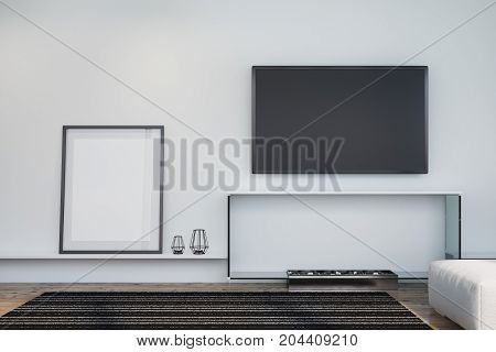 White Living Room, Tv And Poster