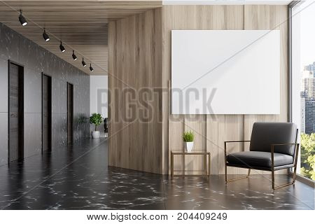 Black Marble And Wooden Elevator Hall, Poster