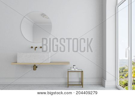 White Bathroom, Marble Sink And Mirror