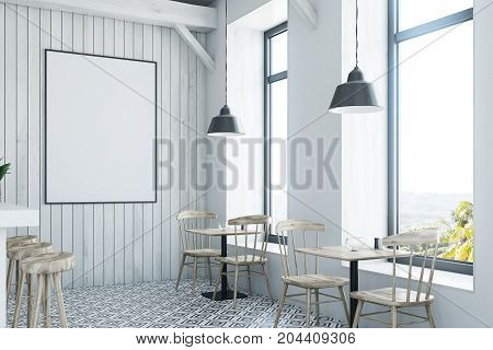 White Wooden Bar, White Stand And Tables Side