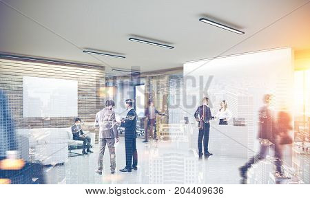 Modern office interior with a white reception counter business people talking and glass wall offices in the background. A poster. 3d rendering mock up toned image double exposure