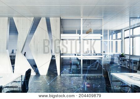 Glass And Wooden Meeting Room Interior Toned