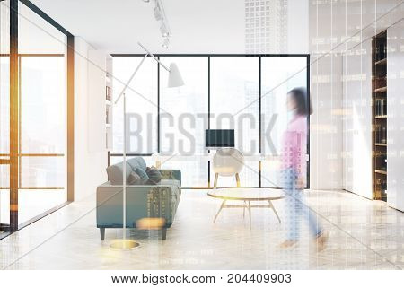 White Living Room, Home Office, Side, Double