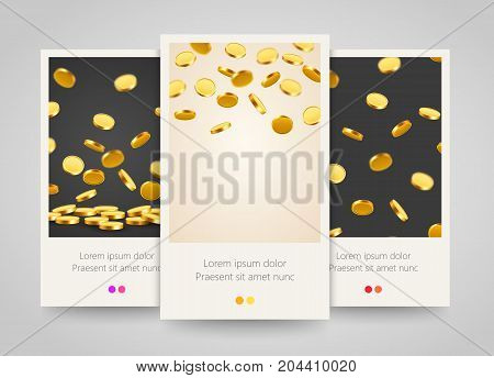 Falling coins, falling money, flying gold coins, golden rain. Jackpot or success concept. Modern background. Poster, flyer or ticket design. Vector illustration