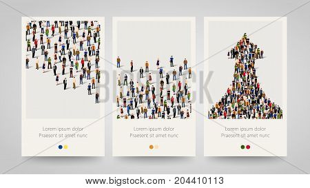 Modern colorful vertical people motive banners. People crowd flyer set. Bright backgrounds. Vector illustration