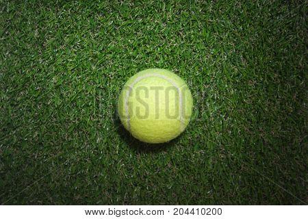 Tennis ball on the tennis grass court