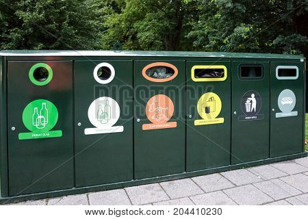 Malmo Sweden - July 25 2017: Advanced segregation system with Various types of recycling bins in the public park in Malmo.