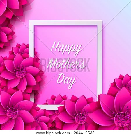 Happy mother day frame flower signboard. Vector illustration