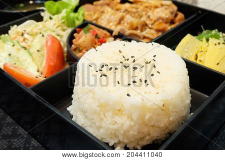 Traditional Japan Cuisine Bento Box or Multi-Layered Box with Teriyaki Chicken Rice Salad Tamagoyaki or Rolled Omelette Hiyashi Wakame or Seaweed Salad and Kimchi Served with Miso Soup.