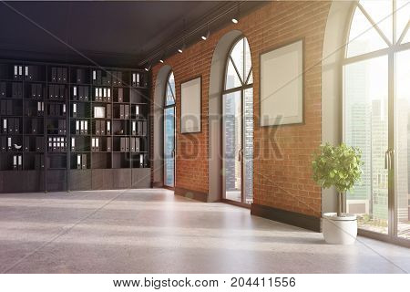 Ceo Office, Bookcase And Two Posters Toned