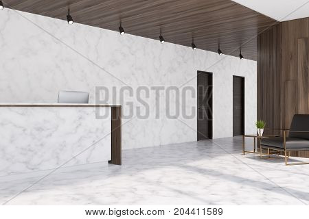 White marble and dark wooden elevator hall in an office with a reception counter. There are two black doors in the wall and a brown armchair. 3d rendering mock up
