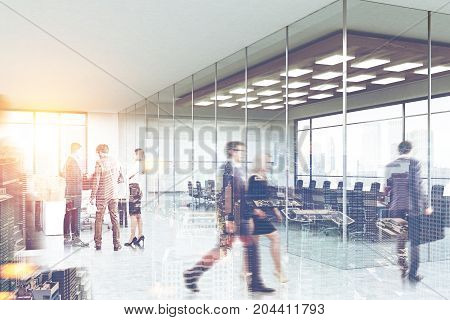 Business people in a glass conference room of a modern office building with panoramic windows. Side view. 3d rendering toned image double exposure