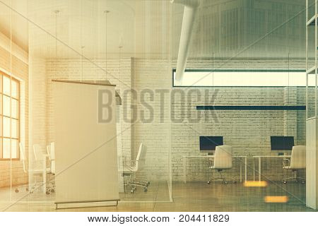 White Brick, Glass Open Space Office, Poster Toned