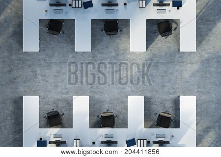 White Cubicles Office, Top View