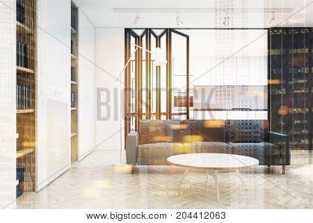 White Living Room Interior, Gray Sofa Double