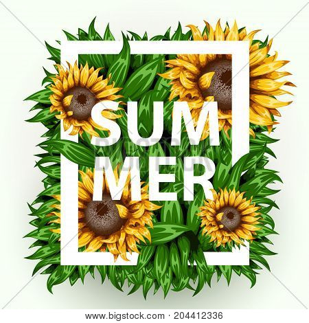 Realistic beautiful grass frame with sunflowers. Flower frame with grass. Summer concept. Vector illustration
