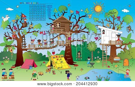 landscape with some small children's games: crossword find the differences find the butterfly sudoku; painting and join the dots.