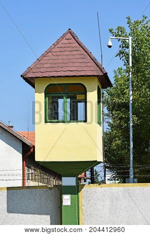 Watch tower of the army base in the city
