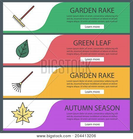 Autumn season web banner templates set. Rakes, maple leaf. Website color menu items. Vector headers design concepts