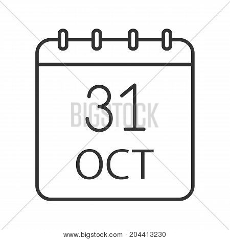 Halloween Day linear icon. Calendar contour symbol. Last October day. Autumn season thin line illustration. Vector isolated outline drawing