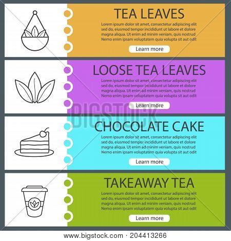 Tea web banner templates set. Loose leaves in bulk, chocolate cake, takeaway paper cup. Website color menu items with linear icons. Vector headers design concepts