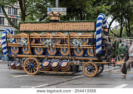 MUNICH GERMANY - 16 OCTOBER 2017: Beer wagon from Hofbräuhaus at the beginning of Oktoberfest