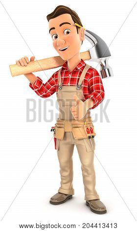 3d handyman carrying hammer on shoulder illustration with isolated white background