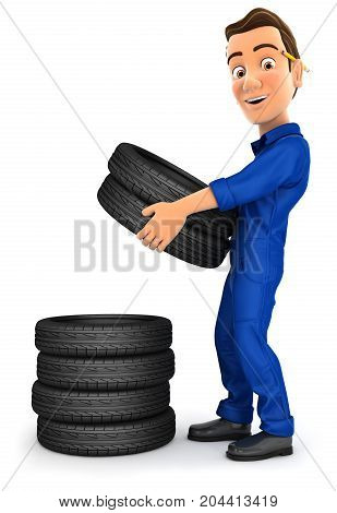 3d mechanic stacking tires illustration with isolated white background